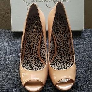Open toe patent high heels